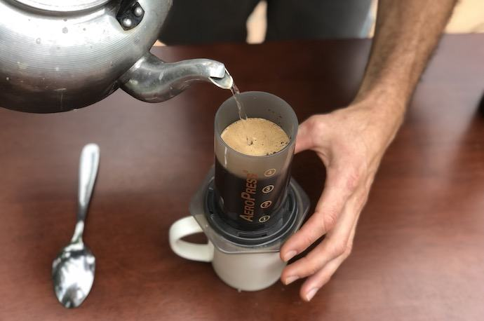 how to make aeropress coffee - adding water