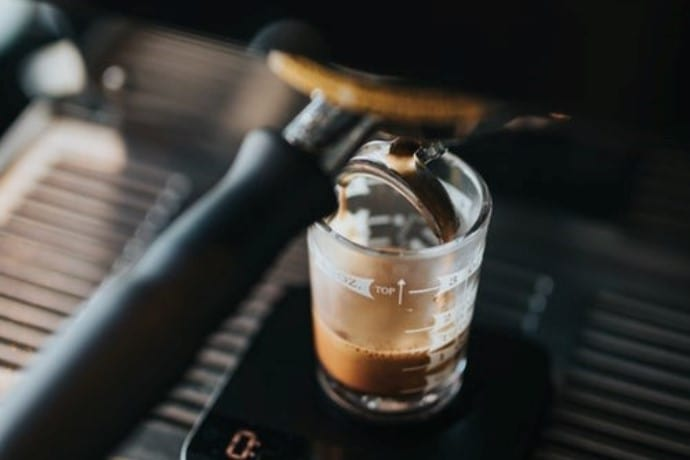 weighing an espresso shot
