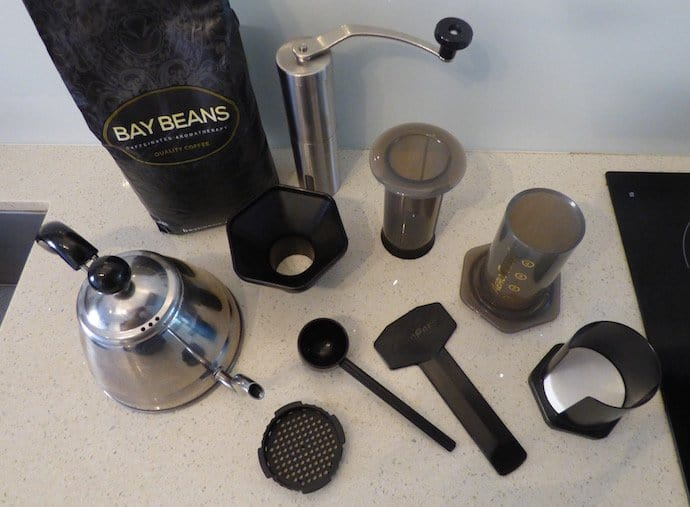 Everything you need to make coffee using the inverted aeropress method