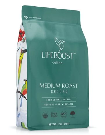 Medium roast coffee bag lifeboost brand