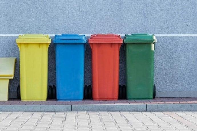 4 garbage bins