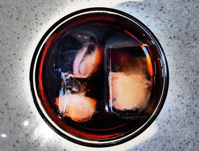 Bird's eye view of of cold brew on ice