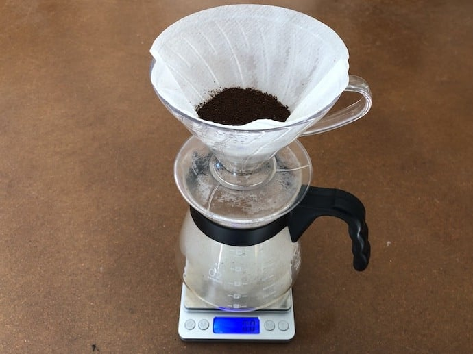 V60 pour over ontop of scale