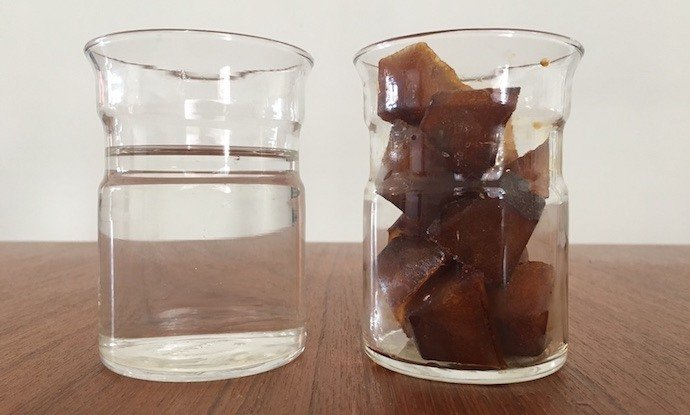 Coffee cubes in glass jar