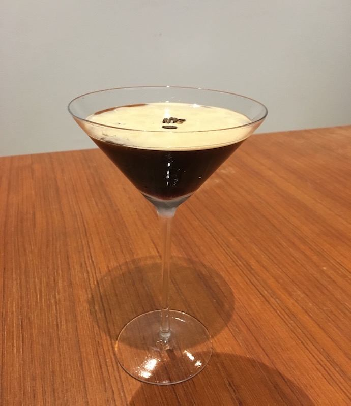 An espresso martini close up.