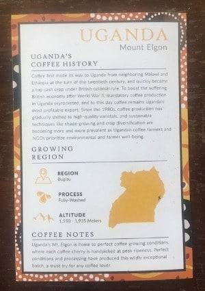 atlas postcard coffee region information