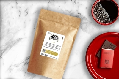 kona coffee beans from beanbox in a bag