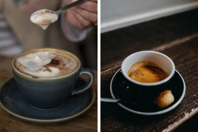 Comparison photo of espresso vs cappuccino