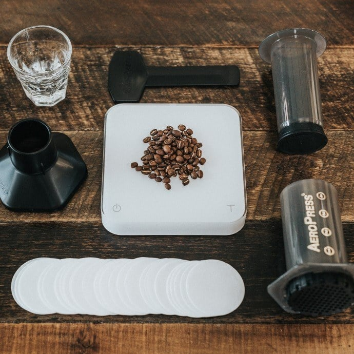 Aeropress gear, paper filters, and beans can be used for making coffee and espresso