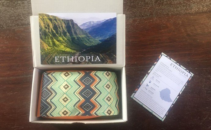 a bag of ethiopian coffee beans inside our atlas subscription box