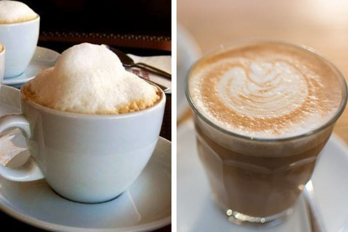 a photo of  flat white vs cappuccino