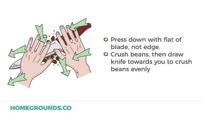 how to use a knife to crush beans