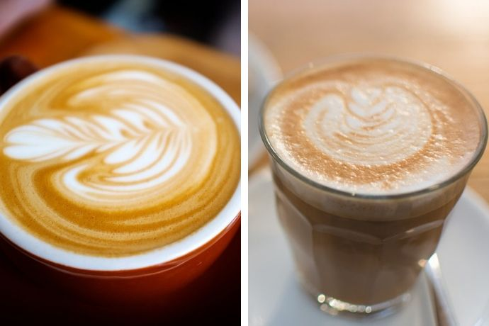 a comparison photo showing flat white vs latte