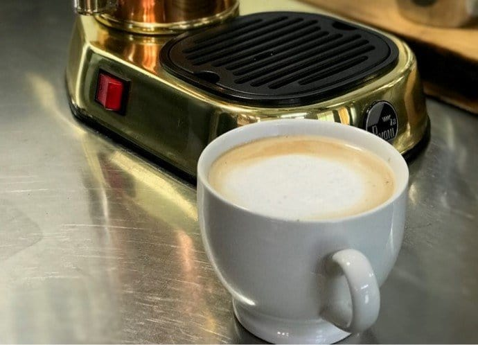 latte sitting on a kitchen benchtop
