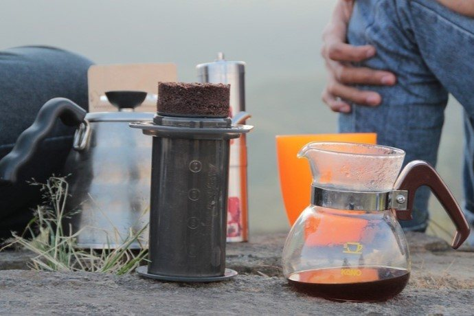 aeropress coffee maker in use