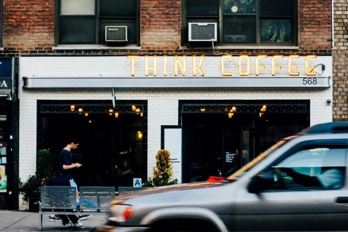 think coffee - one of the coffee shop names displayed in the streets of New York