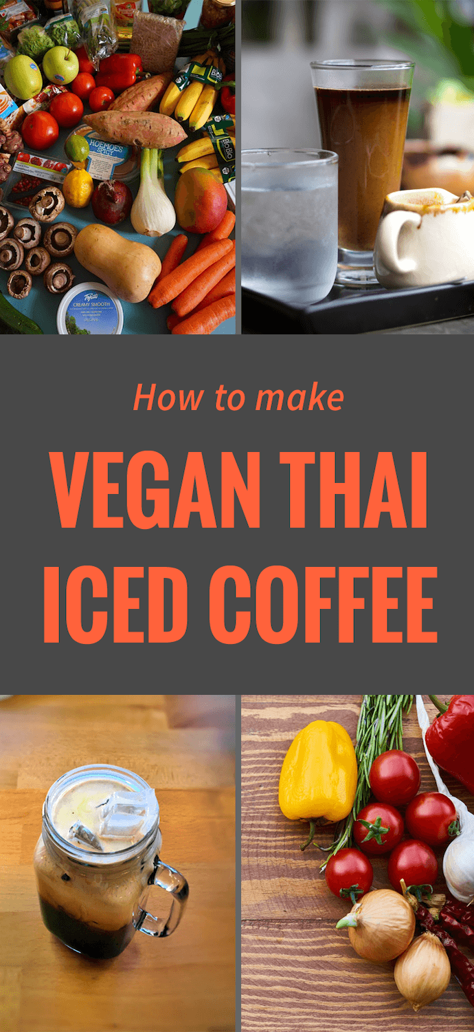 a collage of vegan thai iced coffee ingredients