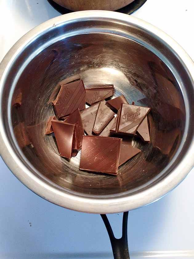 chocolate chunks in a saucepan