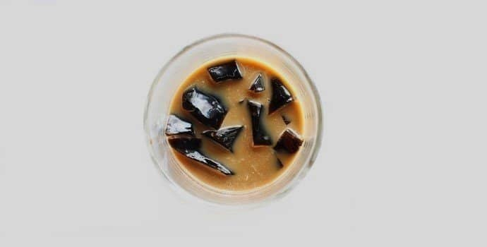 coffee jelly in a cup with milk.