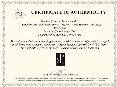 Luwak Certificate from Volcanica coffee