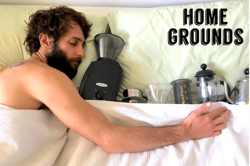 Promotional image of Alex in bed with coffee gear