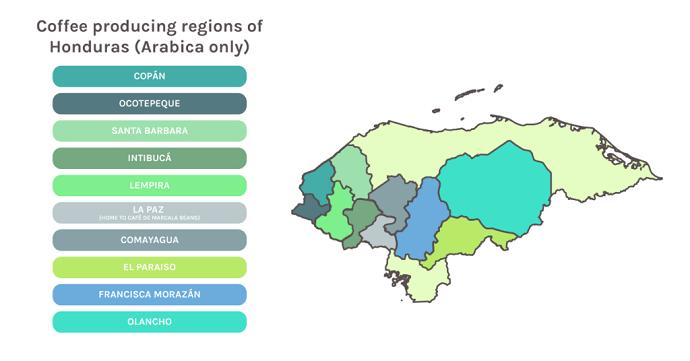 Map Of Honduras's Coffee Producing Regions