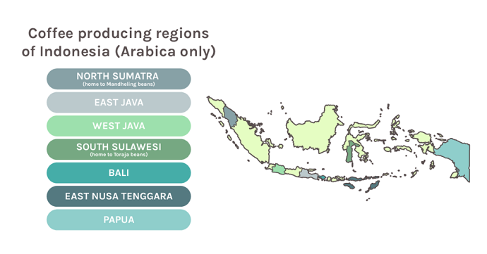 Map Of Indonesia's Coffee Producing Regions