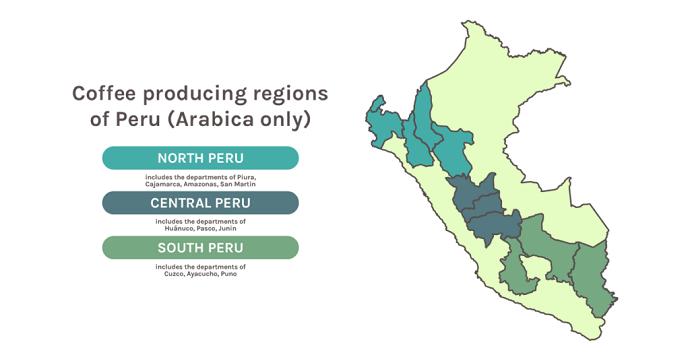 Map Of Peru's Coffee Producing Regions