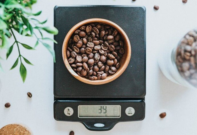 coffee beans on a bonavita scale