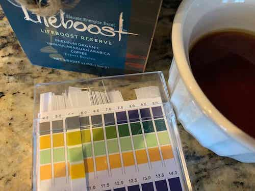 An acidity test showing the PH of low acid coffee