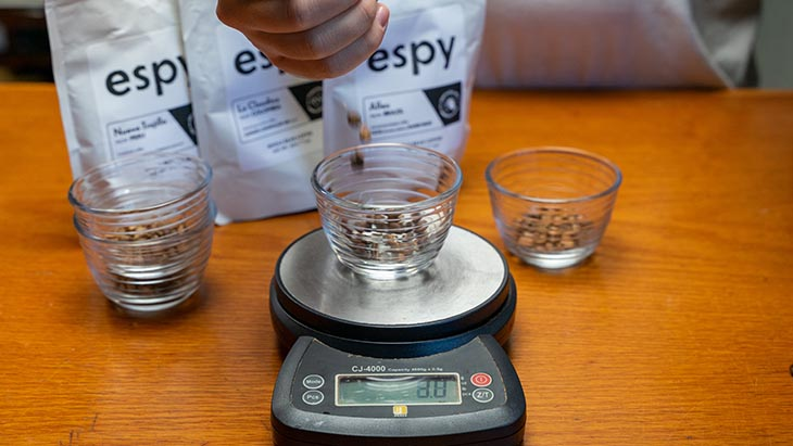 prepare the beans for coffee cupping