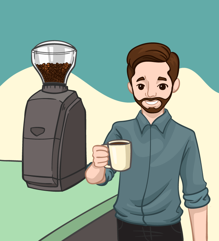 satisfied coffee drinker with a burr grinder