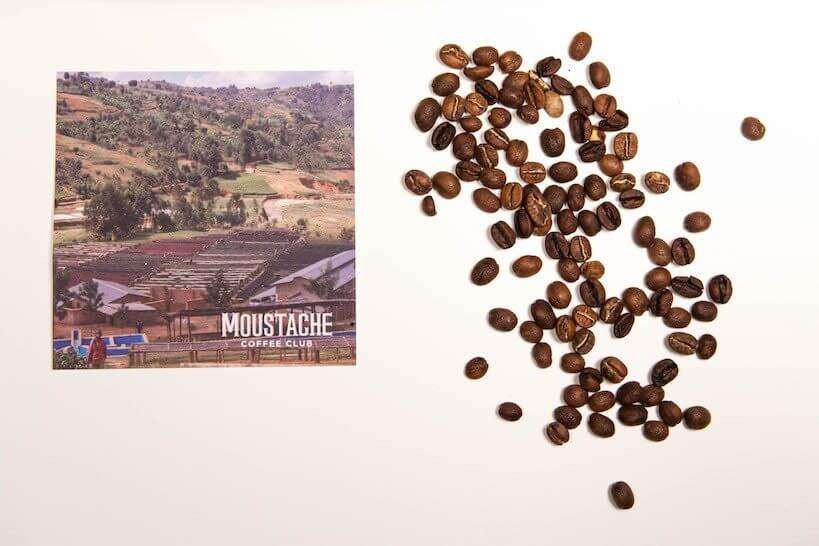 Moustache Coffee Club beans and post card