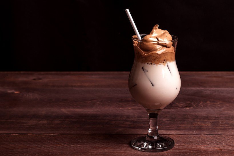 iced dalgona coffee made with instant coffee, sugar and more