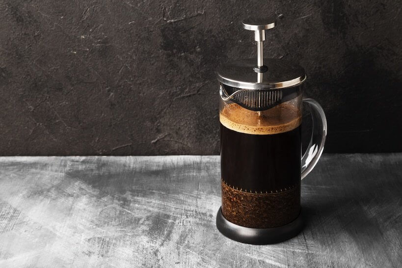French PRess with hot coffee