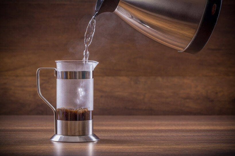 Pouring Water in french press