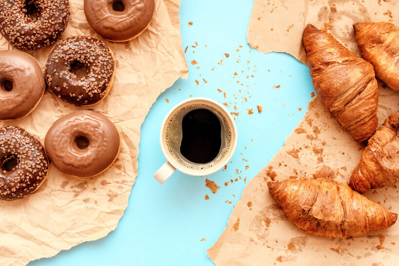 Coffee croissants and chocolate doughnuts