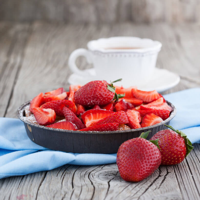 Strawberries being paired with Coffee