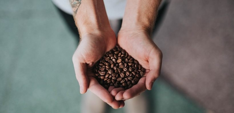the best coffee beans being held in the palm of my hand