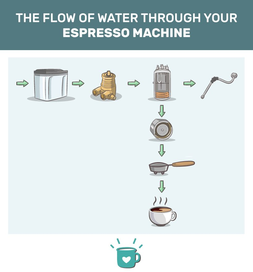 How does an automatic espresso machine work: The flow of water.