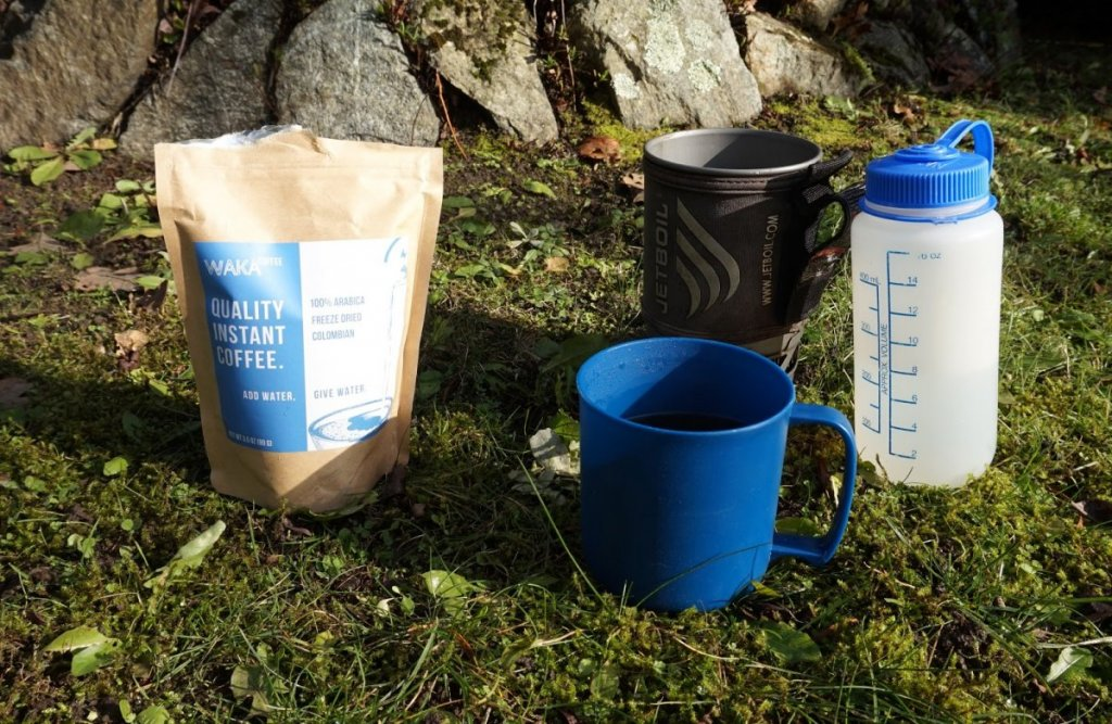 Waka Instant Coffee for Camping and a cup of coffee