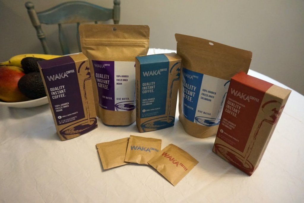 Waka Coffee's Line up of instant coffees and three single-serve packets